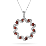 0.77 Cts Red & White Diamond Circle Pendant  in 14 K White Gold
