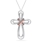 0.16 Cts Red Diamond Cross Pendant in 14K White Gold