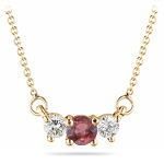 4 mm Red Sapphire & 1/4 Cts Diamond Pendant in 18K Yellow Gold