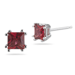 0.74 Cts Red Sapphire Stud Earrings in 14K White Gold