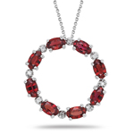 0.06 Ct Diamond & 1.84 Ct Red Sapphire Circle Pendant - 14K White Gold