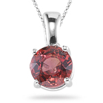 1.46 Cts of 6 mm AA Round Red Sapphire Solitaire Pendant in 14K White Gold