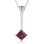 0.40 Ct 4 mm AA Princess Red Sapphire Solitaire Pendant-14K White Gold