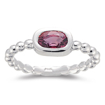 1.09-1.12 Cts of 7x5 mm AA Oval Red Sapphire Engagement Ring in 14K White Gold