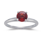 1.18 Ct 6.5 mm AA Round Red Sapphire Engagement Ring in 14K White Gold