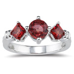 1.80 Cts Red Sapphire Three Stone Ring in 14K White Gold