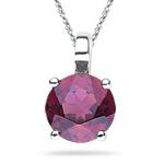 1.00 Ct of 6 mm AA Round Rhodolite Solitaire Pendant in 14K White Gold