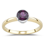 1.00 Ct of 6 mm AA Round Rhodolite Solitaire Ring in 14K Yellow Gold