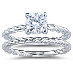 Rope Pattern Matching Ring Setting in 18K White Gold