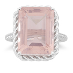 11.25 Ct 16x12 mm AA Emerald Rose Quartz Solitaire Ring-14K White Gold