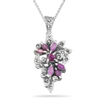 0.70 Ct Ruby & 0.30 Ct Marcasite Filigree Pendant in Silver