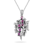 2.00 Cts Ruby Marcasite Filigree Pendant in Silver