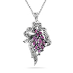 2.50 Cts Ruby Marcasite Filigree Pendant in Silver