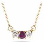 1/4 Cts Diamond & 0.30 Cts of 4 mm Round Ruby Three Stone Necklace in 18K Yellow Gold