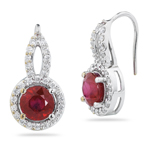 0.87 Cts Diamond & 8.00 Cts Enhanced Ruby Earrings in 14K White Gold