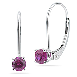 0.60 Cts of 4 mm Round AA Ruby Stud Earrings in 14K White Gold