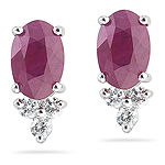 0.10 Ct Diamond & 1.42 Cts Ruby Earrings in 18K White Gold