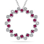 0.20 Ct Diamond & 1.12 Cts Ruby Circle Pendant in 14K White Gold