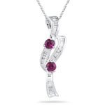 0.27 Ct Diamond & 0.41 Ct Ruby Pendant in 18K White Gold 
