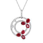 0.60 Cts Diamond & 1.30 Cts Ruby Circle Pendant in 18K White Gold