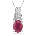0.05 Ct Diamond & 1.44 Cts Ruby Pendant in 14K White Gold
