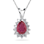 0.28 Cts Diamond & 0.75 Cts Ruby Pendant in 14K White Gold
