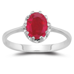 1.80 Cts of 8x6 mm AA Oval Ruby Solitaire Ring in 14K White Gold
