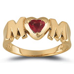 0.30 Cts Ruby Solitaire Heart MOM Ring in 14K Yellow Gold