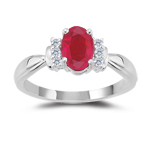 1/10 Ct Diamond & AA Ruby Ring in 18K White Gold