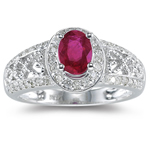 0.44 Cts Diamond & 0.86 Cts Ruby Ring in 14K White Gold