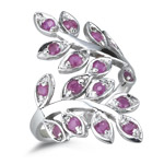 0.80 Ct Ruby Leaf Filigree Ring in Silver