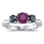 0.65 Cts Black Diamond & 1.01 Cts AA Ruby Ring in 18K White Gold