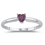 0.25 Cts of 4 mm AA Heart Ruby Solitaire Ring in 14K White Gold