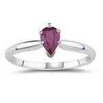 0.57 Cts of 6x4 mm AA Pear Ruby Ring in 14K White Gold