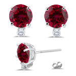 0.06 Cts Diamond & 1.18 Cts Ruby Earrings in 18K White Gold