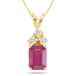 0.09 Cts Diamond & 1.38 Cts Ruby Pendant in 14K Yellow Gold