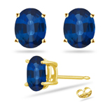 0.45 Cts of 5x3 mm AAA Oval Blue Sapphire Stud Earrings in 14K Yellow Gold