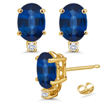 0.04 Cts Diamond & 0.45 Cts Blue Sapphire Earrings in 14K Yellow Gold