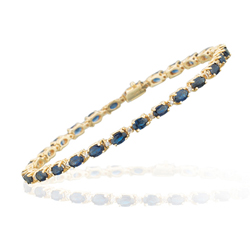 0.26 Cts Diamond & 8.33 Cts of 5x3 mm AA+ Oval Blue Sapphire Bracelet in 14K Yellow Gold