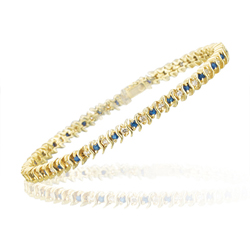 0.60 Cts Diamond & 1.25 Cts Sapphire S-Link Bracelet in 14K Yellow Gold