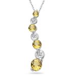 1.00 Ct Yellow Sapphire & 0.015 Ct Diamond Journey Pendant in 14K Gold