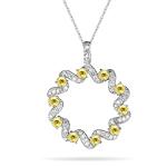 1/3 Ct Diamond & Yellow Sapphire Circle Pendant in 14K White Gold