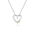 Heart Pendant - 18K White Gold Yellow Heart Pendant
