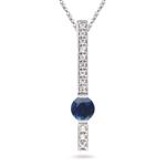 0.12 Ct Diamond & 2/3 Ct Blue Sapphire Pendant in 14K White Gold