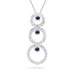 Sapphire Pendant - 0.80 Ct Diamond & Blue Sapphire Trio-Circle Pendant