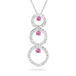 Sapphire Pendant - 0.80 Ct Diamond & Pink Sapphire Trio-Circle Pendant