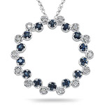 0.20 Cts Diamond & 1.04 Cts Sapphire Circle Pendant in 14K White Gold