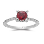 0.48 Cts Diamond & 0.98 Cts Red Sapphire Ring in 14K White Gold