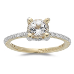 0.48 Cts Diamond & 0.93 Cts of 6 mm AAA Round White Sapphire Ring in 14K Yellow Gold
