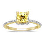 1/2 Cts Diamond & 0.95 Cts Yellow Sapphire Ring in 14K Yellow Gold